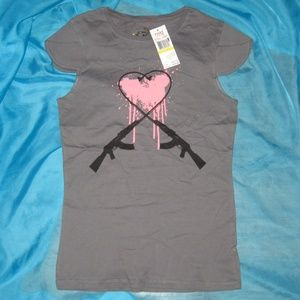 Ecko Red Gray Love Not Guns Ruffle Sleeve T-Shirt